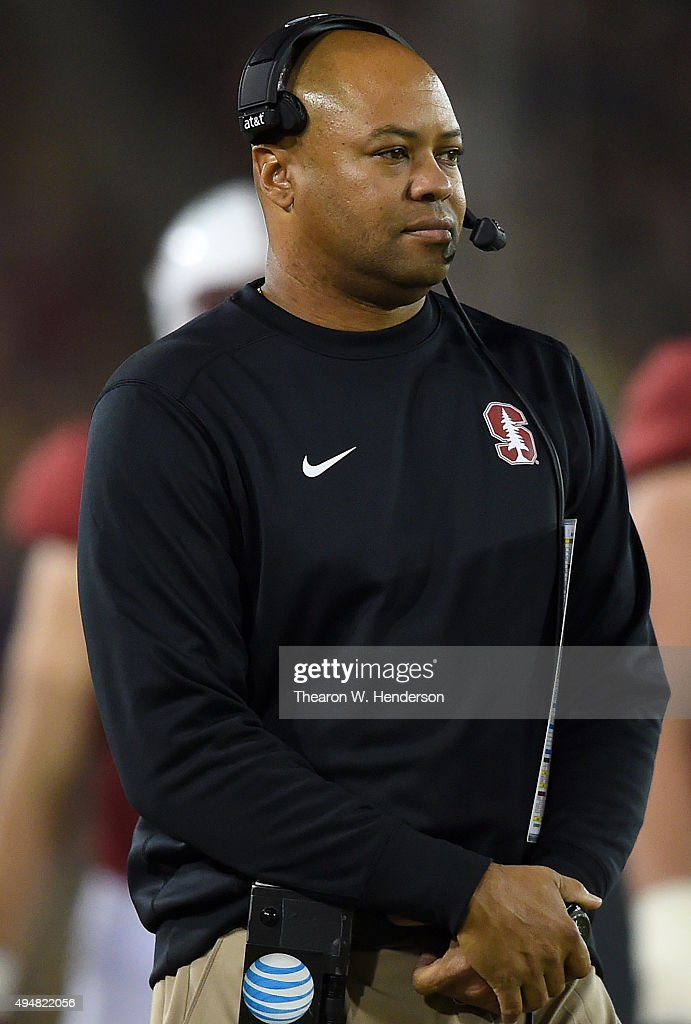 Head coach <a gi-track='captionPersonalityLinkClicked' href=/galleries/search?phrase=David+Shaw+-+Amerikaans+football+coach&family=editorial&specificpeople=8769878 ng-click='$event.stopPropagation()'>David Shaw</a> of the Stanford Cardinal's looks up at the clock before calling a timeout against the Washington Huskies late in the second quarter of an NCAA football game at Stanford Stadium on October 24, 2015 in Stanford, California.