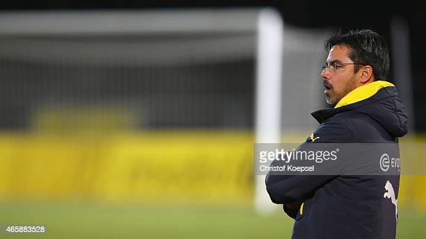 Head coach David Wagner of Dortmund II looks thoughtful during the Third League match between Borussia Dortmund II and SG Sonnenhof Grossaspach at...