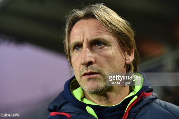 Head Coach Davide Nicola of Crotone looks on during the Serie A match between Atalanta BC and FC Crotone at Stadio Atleti Azzurri d'Italia on...