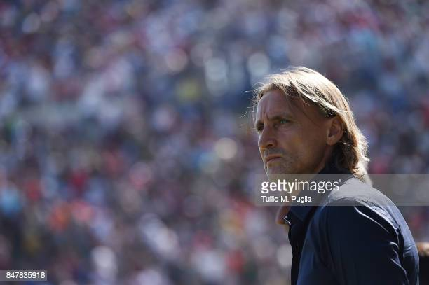 Head coach Davide Nicola of Crotone looks on during the Serie A match between FC Crotone and FC Internazionale at Stadio Comunale Ezio Scida on...