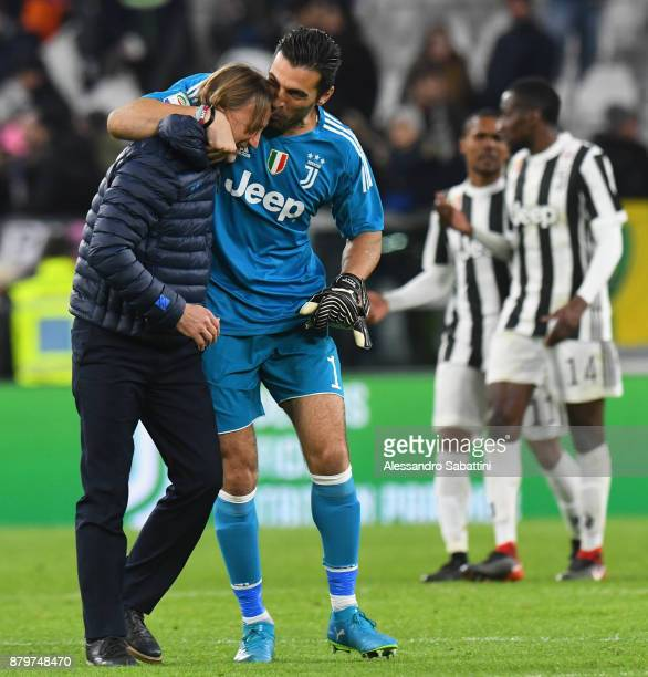 head coach Davide Nicola of FC Crotone embraces Gianluigi Buffon of Juventus after the Serie A match between Juventus and FC Crotone at Allianz...
