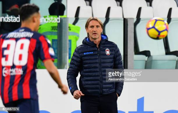 head coach Davide Nicola of FC Crotone looks on during the Serie A match between Juventus and FC Crotone at Allianz Stadium on November 26 2017 in...
