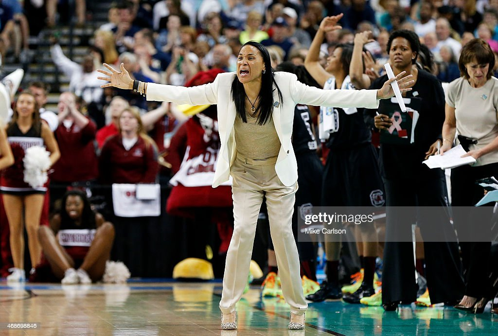 Head coach <a gi-track='captionPersonalityLinkClicked' href=/galleries/search?phrase=Dawn+Staley&family=editorial&specificpeople=209196 ng-click='$event.stopPropagation()'>Dawn Staley</a> of the South Carolina Gamecocks reacts in the second half against the Notre Dame Fighting Irish during the NCAA Women's Final Four Semifinal at Amalie Arena on April 5, 2015 in Tampa, Florida.