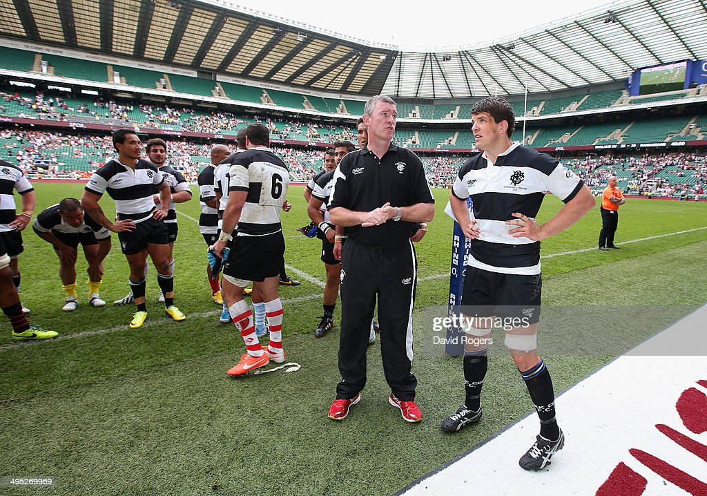 Head Coach Dean Ryan of the Barbarians speaks to Donncha O'Callaghan of the Barbarians after the game during the Rugby Union International Match between England and The Barbarians at Twickenham Stadium on June 1, 2014 in London, England.
