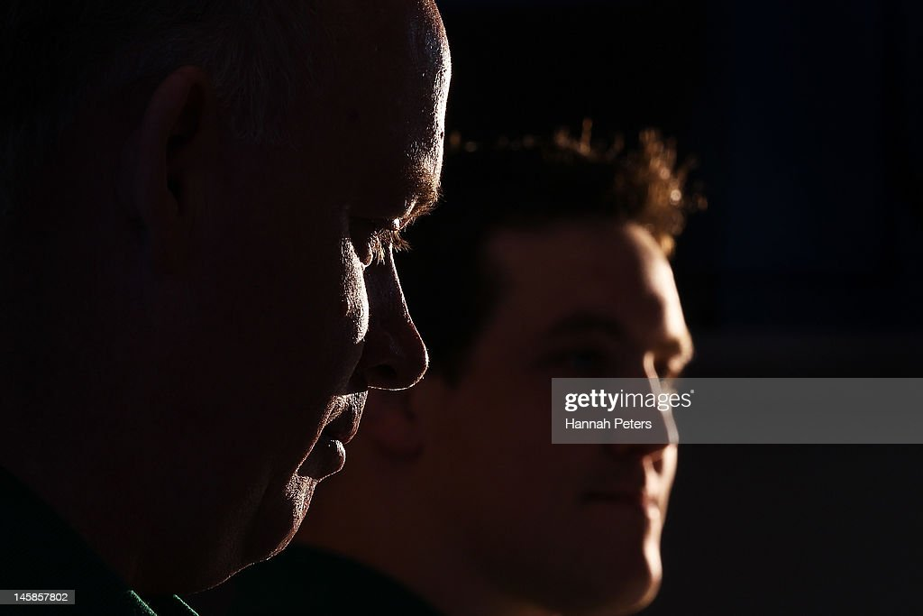 Head coach <a gi-track='captionPersonalityLinkClicked' href=/galleries/search?phrase=Declan+Kidney&family=editorial&specificpeople=626890 ng-click='$event.stopPropagation()'>Declan Kidney</a> announces the starting lineup during the Ireland rugby team announcement at the Spencer on Byron on June 7, 2012 in Auckland, New Zealand.