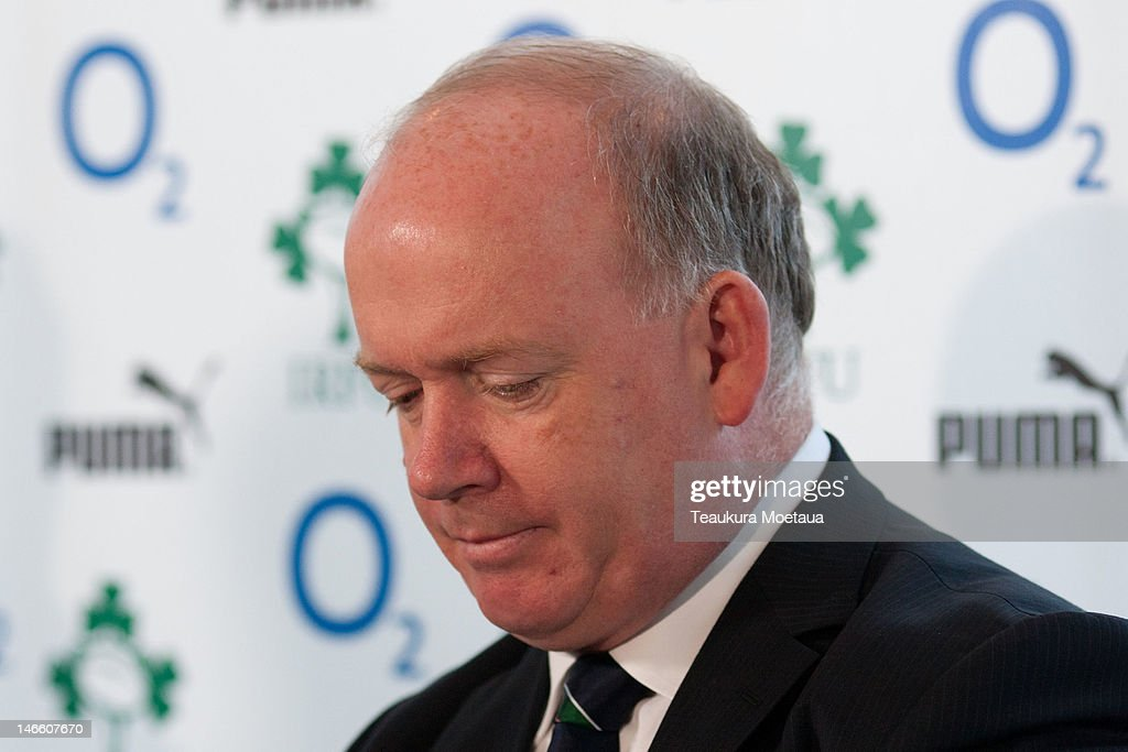 Head Coach <a gi-track='captionPersonalityLinkClicked' href=/galleries/search?phrase=Declan+Kidney&family=editorial&specificpeople=626890 ng-click='$event.stopPropagation()'>Declan Kidney</a> looks on during the Ireland rugby team announcement at the Crowne Plaza Hotel on June 21, 2012 in Queenstown, New Zealand.
