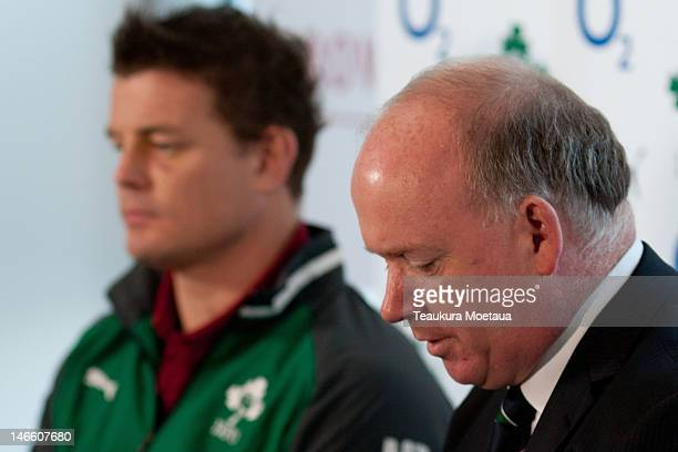 Head Coach Declan Kidney looks on during the Ireland rugby team announcement at the Crowne Plaza Hotel on June 21 2012 in Queenstown New Zealand