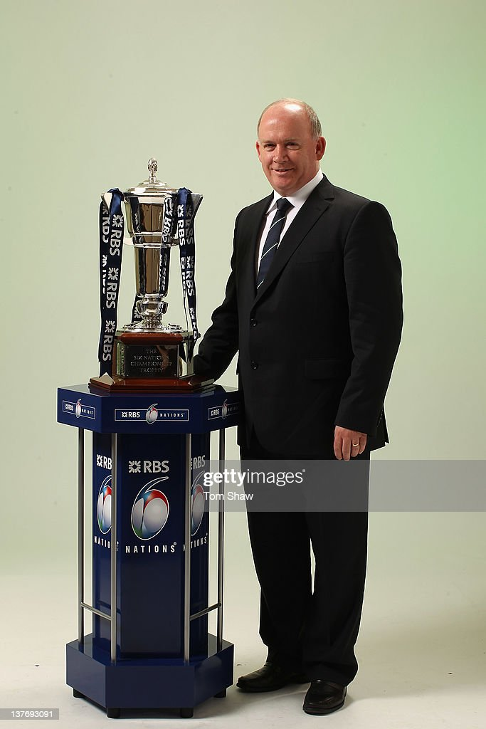 Head Coach Declan Kidney of Ireland poses with the RBS Six Nations Trophy during the RBS Six Nations Launch at The Hurlingham Club on January 25, 2012 in London, England.