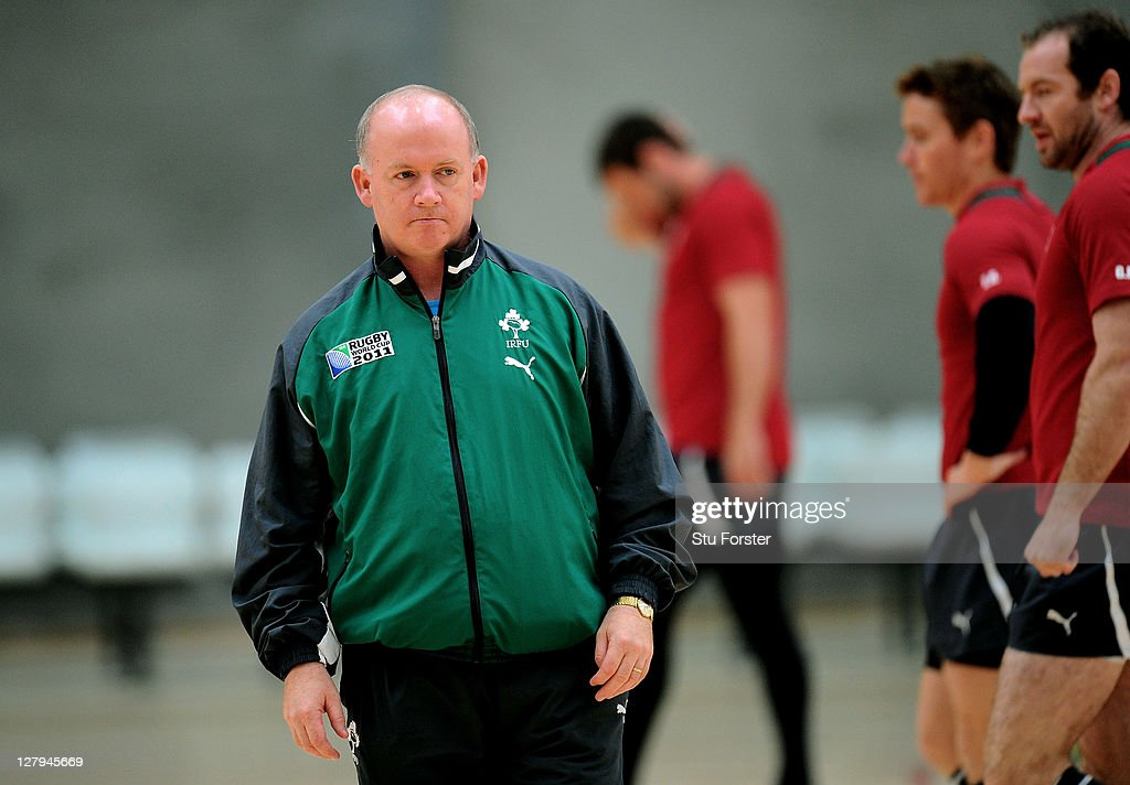 Head coach <a gi-track='captionPersonalityLinkClicked' href=/galleries/search?phrase=Declan+Kidney&family=editorial&specificpeople=626890 ng-click='$event.stopPropagation()'>Declan Kidney</a> watches over his players during an Ireland IRB Rugby World Cup 2011 training session at ASB Indoor Sports Centre on October 4, 2011 in Wellington, New Zealand.