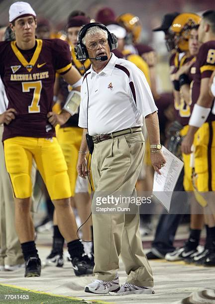 Head coach Dennis Erickson of the Arizona State Sun Devils works on the sidelines during the game with the San Diego State Aztecs on September 15...