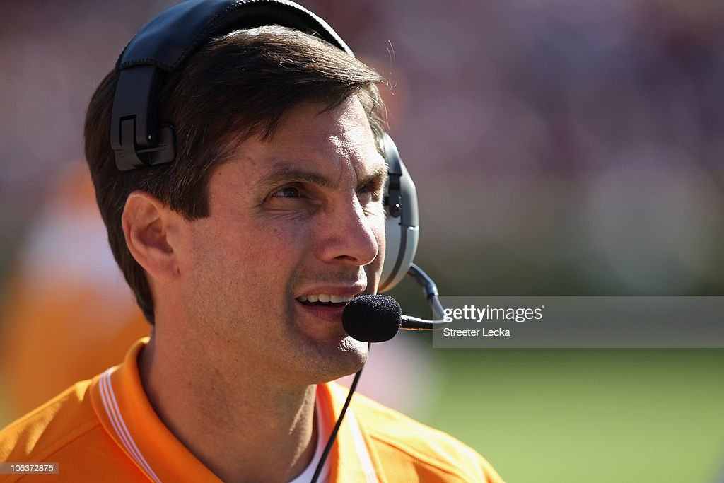 Head coach Derek Dooley of the Tennessee Volunteers watches on against the South Carolina Gamecocks during their game at Williams-Brice Stadium on October 30, 2010 in Columbia, South Carolina.
