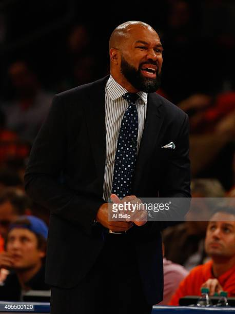 Head Coach Derek Fisher of the New York Knicks argues a call during their game against the Atlanta Hawks at Madison Square Garden on October 29 2015...