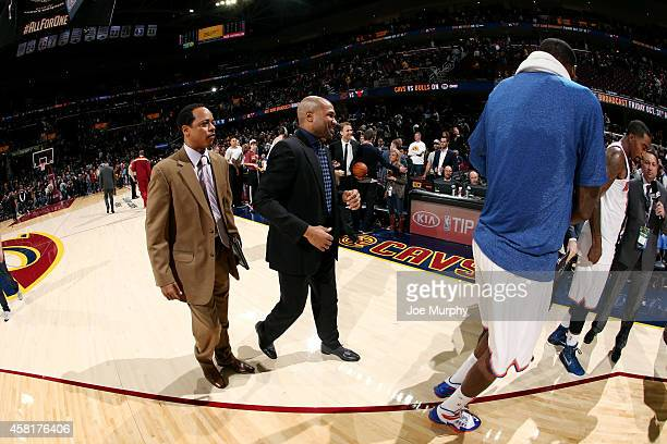 Head Coach Derek Fisher of the New York Knicks celebrates his first win as a coach against the Cleveland Cavaliers on October 30 2014 in Cleveland...