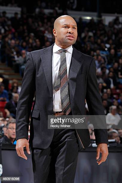 Head Coach Derek Fisher of the New York Knicks coaches against the Sacramento Kings on December 27 2014 at Sleep Train Arena in Sacramento California...