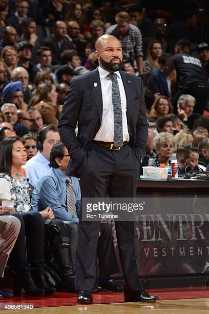 Head coach Derek Fisher of the New York Knicks during the game against the Toronto Raptors on November 10 2015 at Air Canada Centre in Toronto Canada...