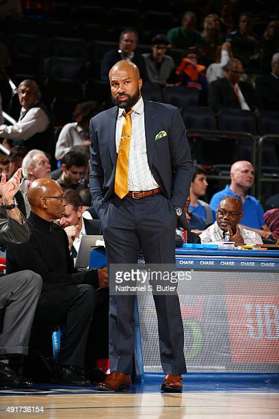 Head coach Derek Fisher of the New York Knicks looks on against Paschoalotto/Bauru during a preseason game on October 7 2015 at Madison Square Garden...