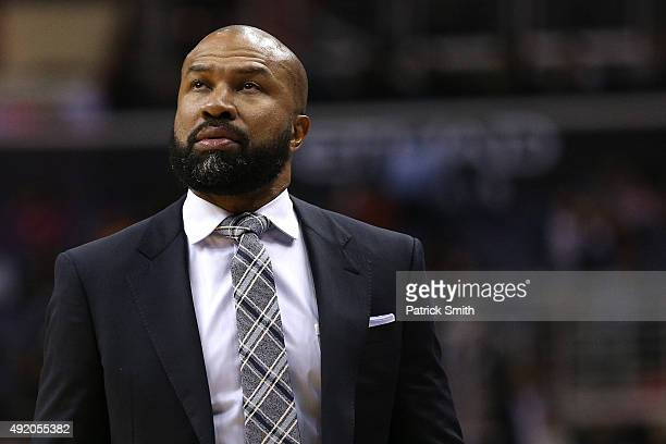 Head coach Derek Fisher of the New York Knicks looks on against the Washington Wizards during the first half at Verizon Center on October 9 2015 in...