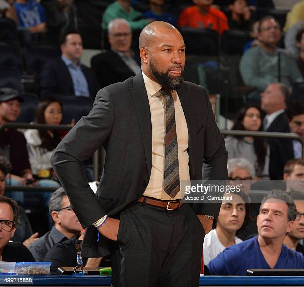 Head Coach Derek Fisher of the New York Knicks looks on against the Houston Rockets at Madison Square Garden on November 29 2015 in New YorkNew York...