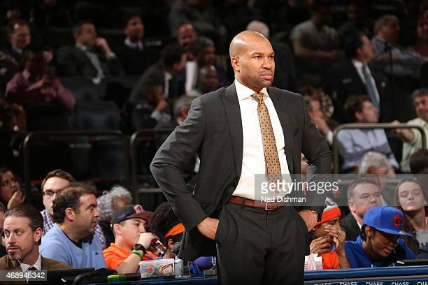 Head Coach Derek Fisher of the New York Knicks looks on during the game against the Indiana Pacers on April 8 2015 at Madison Square Garden in New...