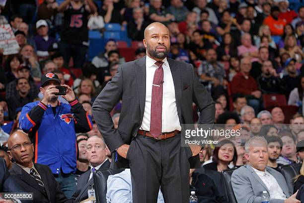 Head coach Derek Fisher of the New York Knicks looks on during the game against the Sacramento Kings on December 10 2015 at Sleep Train Arena in...