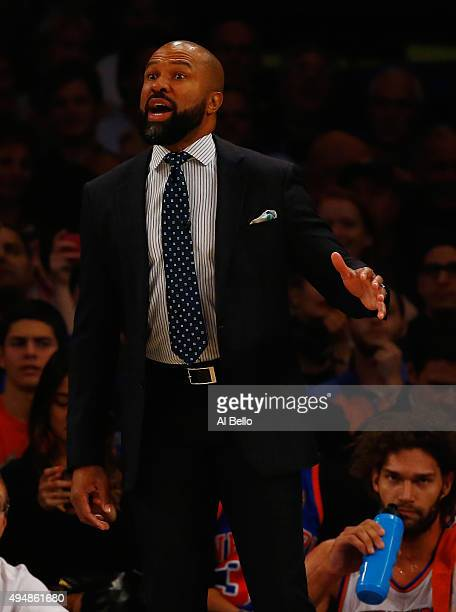 Head Coach Derek Fisher of the New York Knicks shouts instructions during their game against the Atlanta Hawks at Madison Square Garden on October 29...
