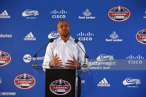 Head Coach Derek Fisher of the New York Knicks speaks to the media prior to the game against the Milwaukee Bucks as part of the 2015 Global Games on...