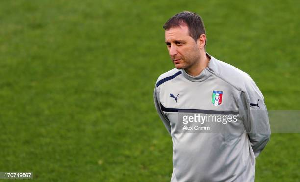 Head coach Devis Mangia attends an Italy U21 training session at Teddy Stadium ahead of their UEFA European U21 Championship final match against...