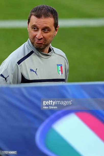 Head coach Devis Mangia looks on during an Italy U21 training session at Teddy Stadium ahead of their UEFA European U21 Championship final match...