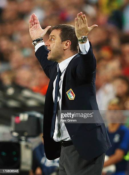 Head coach Devis Mangia of Italy reacts during the UEFA European U21 Championship final match between Italy and Spain at Teddy Stadium on June 18...