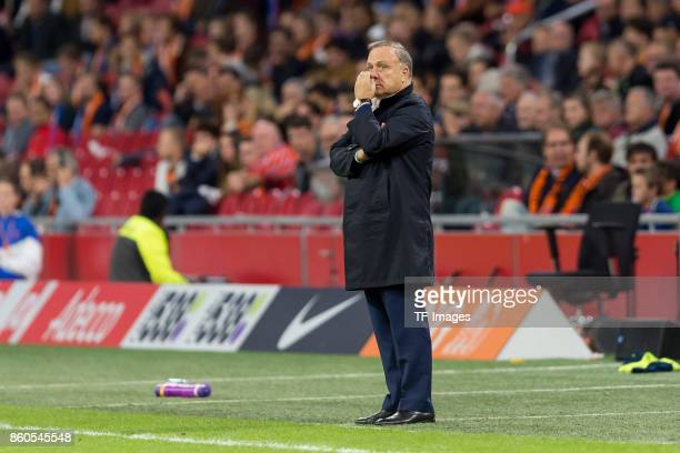head coach Dick Advocaat of Netherlands gestures during the FIFA 2018 World Cup Qualifier between Netherlands and Sweden at Amsterdam ArenA on...
