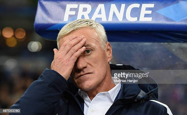 Head coach Didier Dechamps of France reacts prior to the International Friendly match between France and Germany at the Stade de France on November...