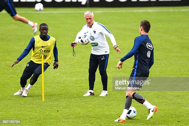 Head coach Didier Deschamps and Ngolo Kante of France during a training session during the preparation on the French football Team before Euro 2016...