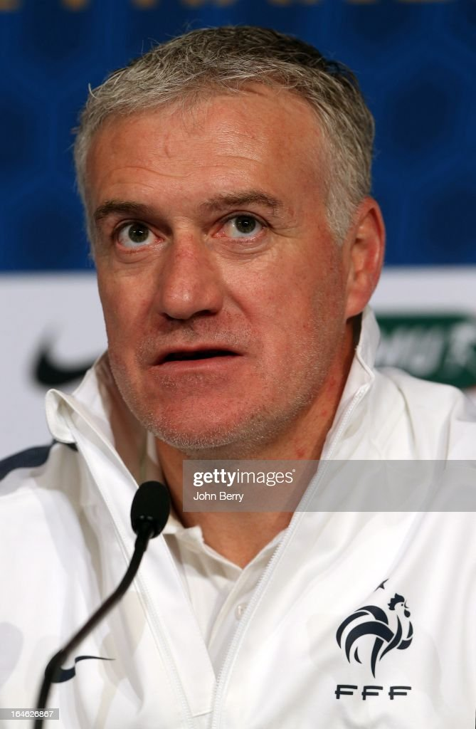 Head coach Didier Deschamps of France answers questions from the media during a press conference prior to the FIFA World Cup 2014 qualifier between France and Spain at the Stade de France on March 25, 2013 in Saint-Denis near Paris, France.