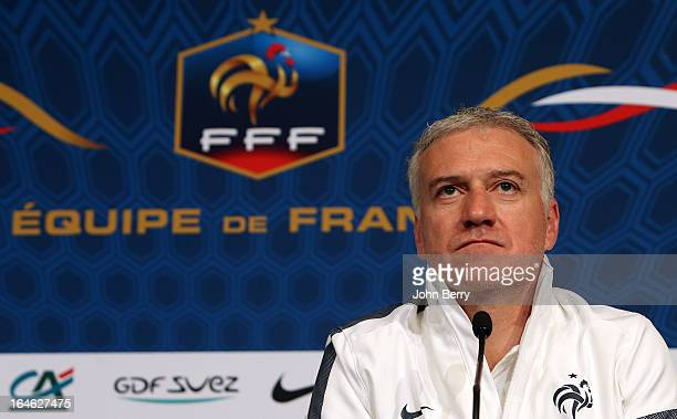 Head coach Didier Deschamps of France answers questions from the media during a press conference prior to the FIFA World Cup 2014 qualifier between...
