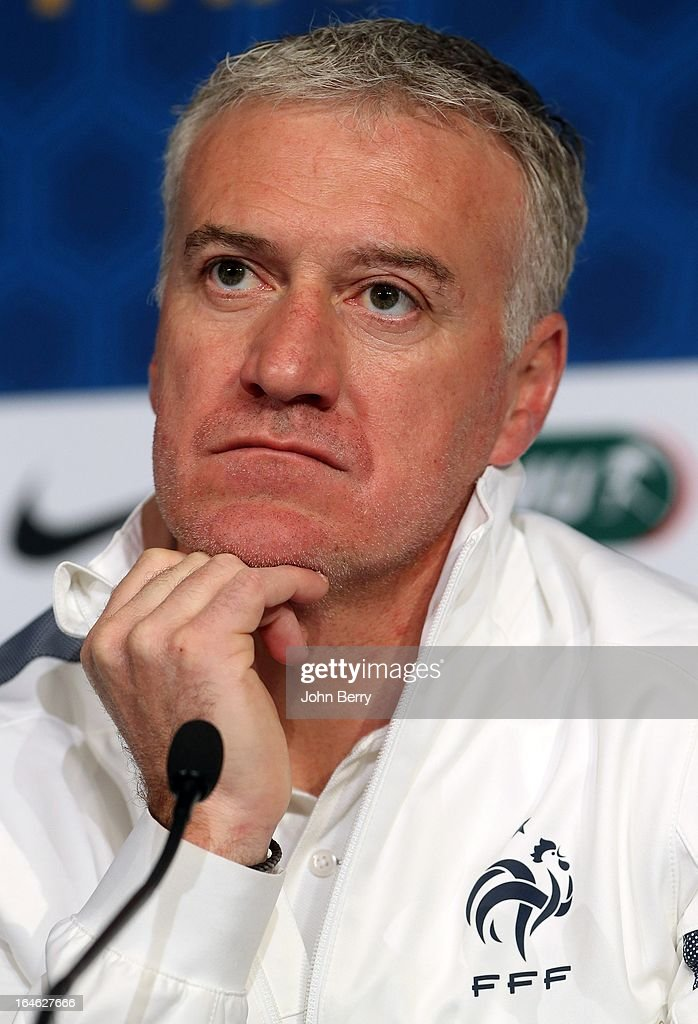 Head Coach <a gi-track='captionPersonalityLinkClicked' href=/galleries/search?phrase=Didier+Deschamps&family=editorial&specificpeople=213607 ng-click='$event.stopPropagation()'>Didier Deschamps</a> of France answers questions from the media during a press conference prior to the FIFA World Cup 2014 qualifier between France and Spain at the Stade de France on March 25, 2013 in Saint-Denis near Paris, France.