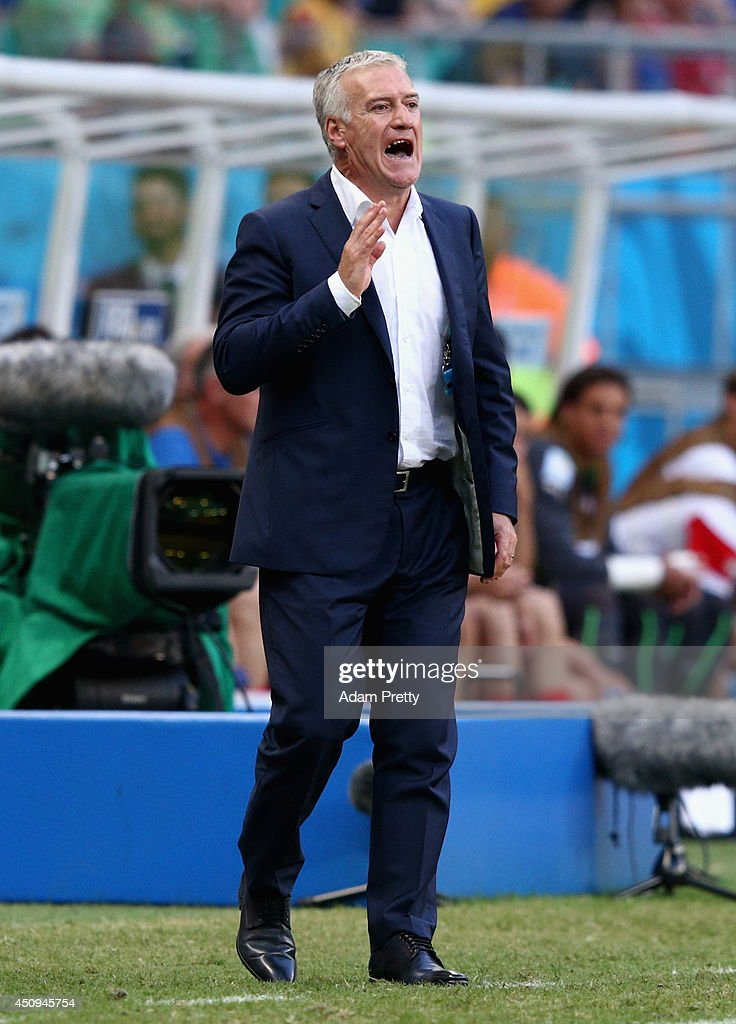 Head coach <a gi-track='captionPersonalityLinkClicked' href=/galleries/search?phrase=Didier+Deschamps&family=editorial&specificpeople=213607 ng-click='$event.stopPropagation()'>Didier Deschamps</a> of France gestures during the 2014 FIFA World Cup Brazil Group E match between Switzerland and France at Arena Fonte Nova on June 20, 2014 in Salvador, Brazil.