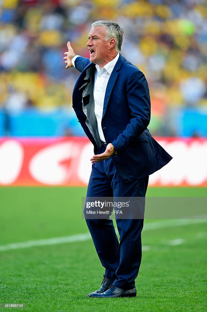 Head coach Didier Deschamps of France gestures during the 2014 FIFA World Cup Brazil Quarter Final match between France and Germany at Maracana on July 4, 2014 in Rio de Janeiro, Brazil.