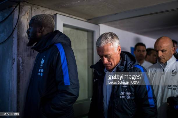 Head Coach Didier Deschamps of France is focused prior to the FIFA 2018 World Cup Qualifier between Luxembourg and France at Stade Josy Barthel on...