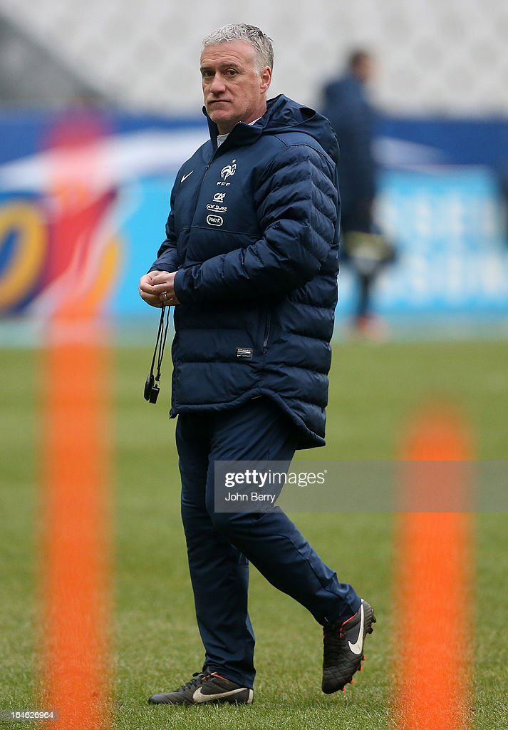Head coach <a gi-track='captionPersonalityLinkClicked' href=/galleries/search?phrase=Didier+Deschamps&family=editorial&specificpeople=213607 ng-click='$event.stopPropagation()'>Didier Deschamps</a> of France looks on during a training session the day before the FIFA World Cup 2014 qualifier between France and Spain at the Stade de France on March 25, 2013 in Saint-Denis near Paris, France.