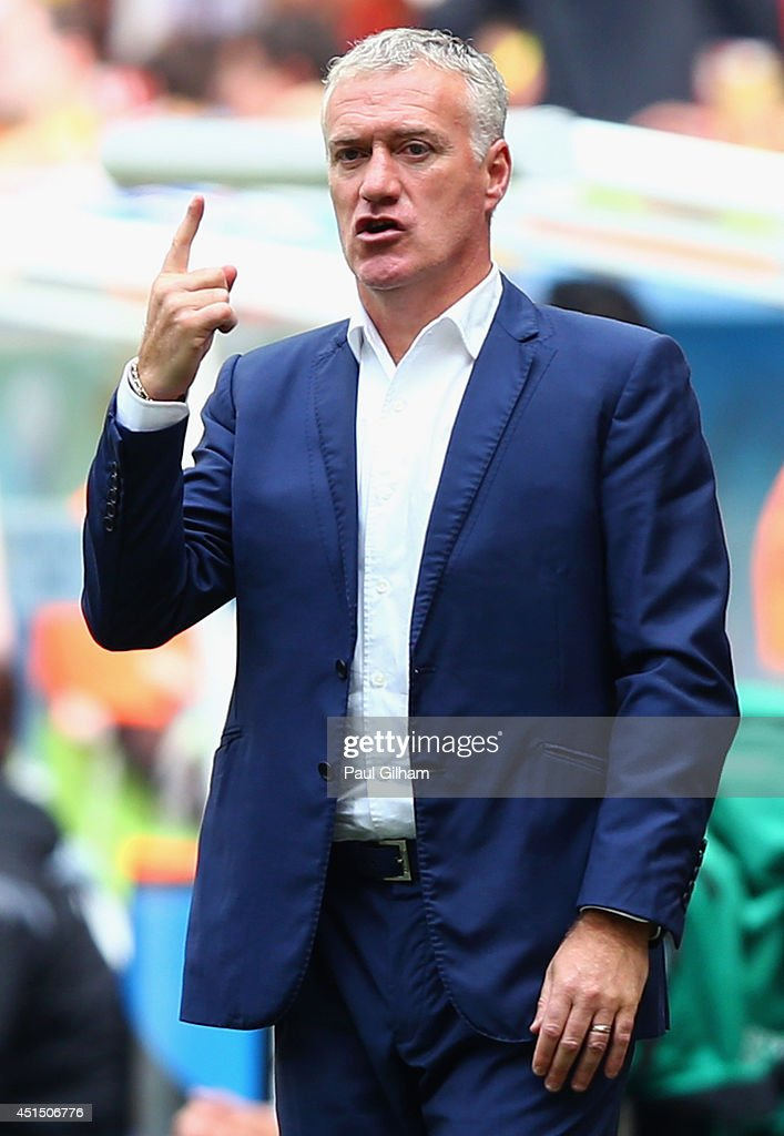 Head coach <a gi-track='captionPersonalityLinkClicked' href=/galleries/search?phrase=Didier+Deschamps&family=editorial&specificpeople=213607 ng-click='$event.stopPropagation()'>Didier Deschamps</a> of France looks on during the 2014 FIFA World Cup Brazil Round of 16 match between France and Nigeria at Estadio Nacional on June 30, 2014 in Brasilia, Brazil.