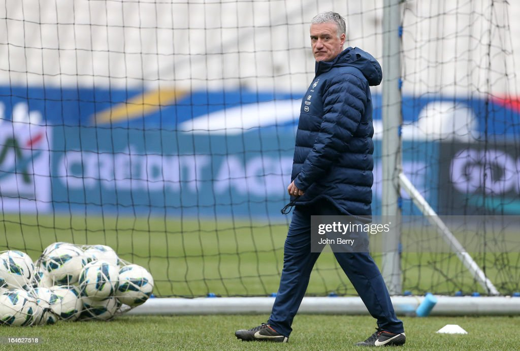 Head coach Didier Deschamps of France oversees a training session ahead of the day before the FIFA World Cup 2014 qualifier between France and Spain at the Stade de France on March 25, 2013 in Saint-Denis near Paris, France.