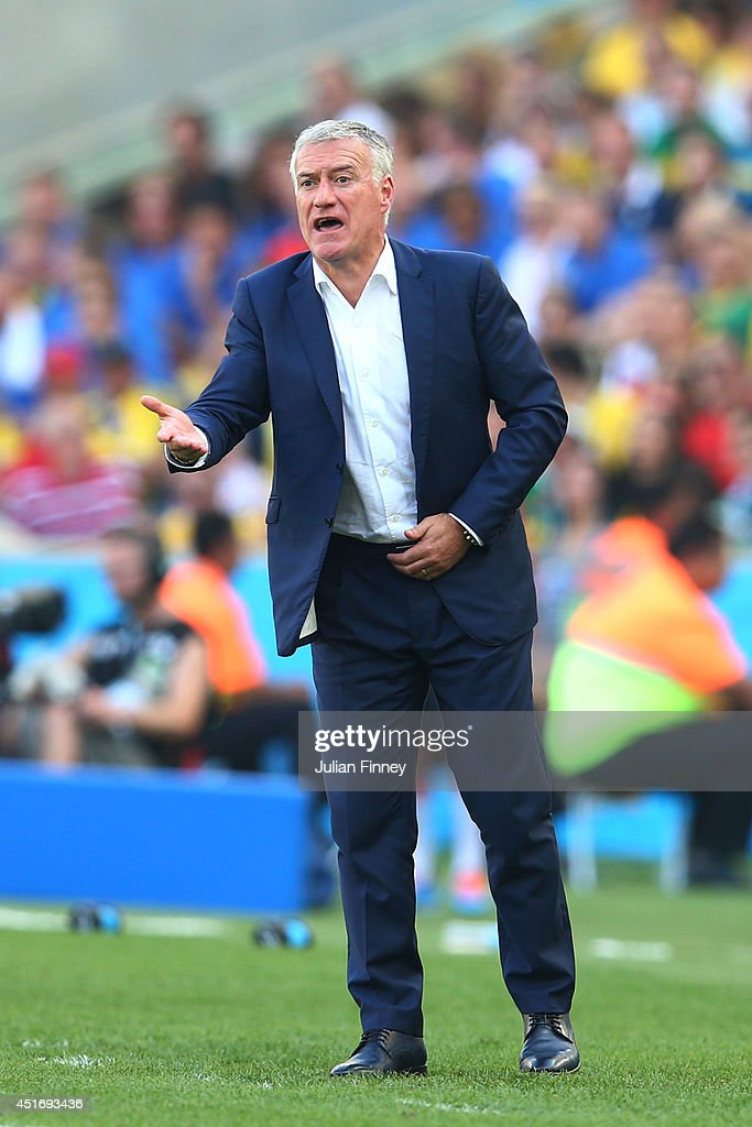 Head coach <a gi-track='captionPersonalityLinkClicked' href=/galleries/search?phrase=Didier+Deschamps&family=editorial&specificpeople=213607 ng-click='$event.stopPropagation()'>Didier Deschamps</a> of France reacts during the 2014 FIFA World Cup Brazil Quarter Final match between France and Germany at Maracana on July 4, 2014 in Rio de Janeiro, Brazil.