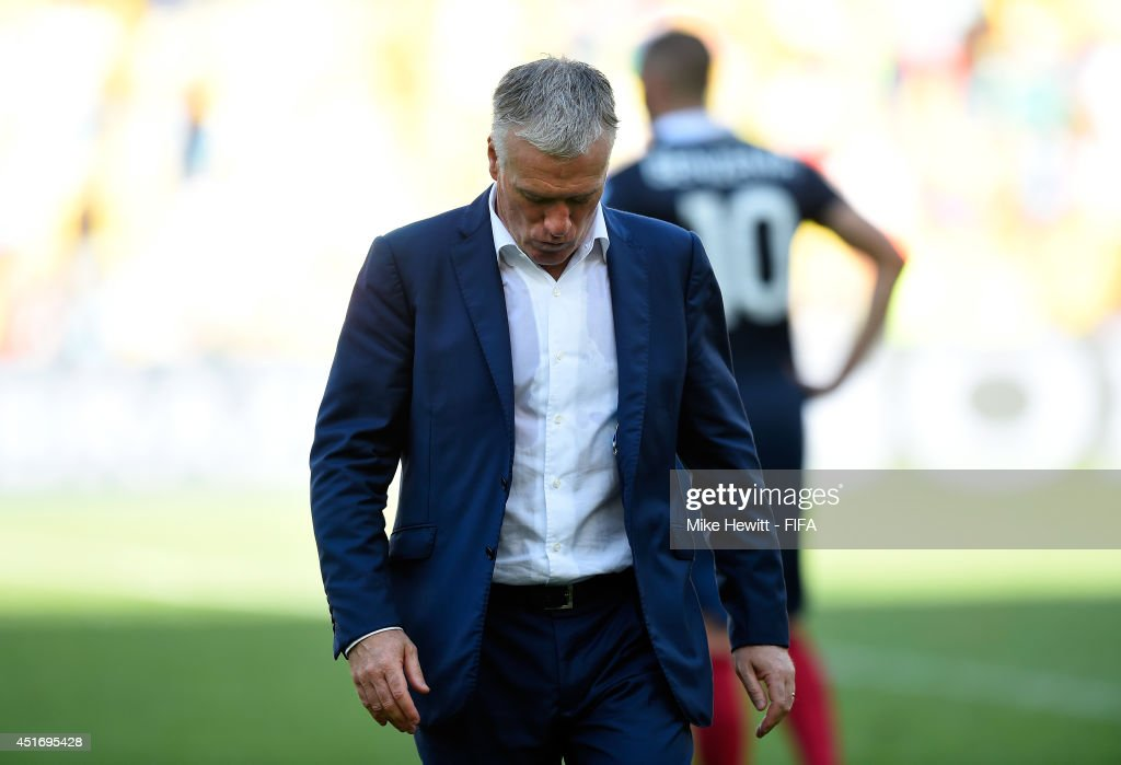 Head coach Didier Deschamps of France walks off the pitch after the 0-1 defeat in the 2014 FIFA World Cup Brazil Quarter Final match between France and Germany at Maracana on July 4, 2014 in Rio de Janeiro, Brazil.
