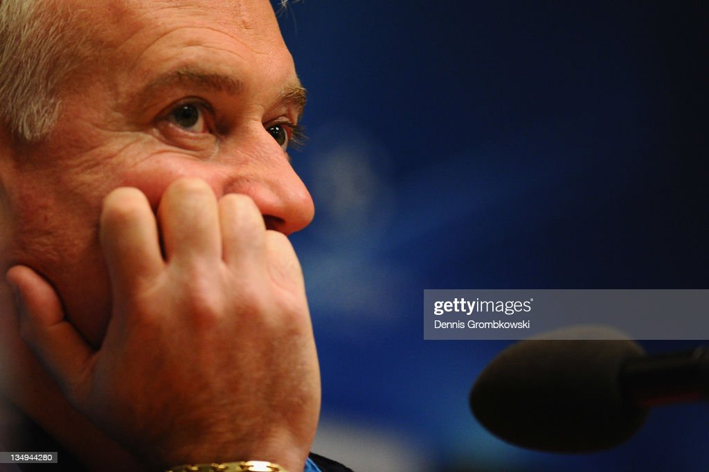 Head coach Didier Deschamps of Marseille reacts during a press conference ahead of their UEFA Champions League group F match against Borussia Dortmund at Signal Iduna Park on December 5, 2011 in Dortmund, Germany.