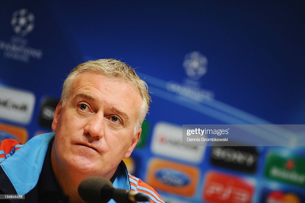 Head coach <a gi-track='captionPersonalityLinkClicked' href=/galleries/search?phrase=Didier+Deschamps&family=editorial&specificpeople=213607 ng-click='$event.stopPropagation()'>Didier Deschamps</a> of Marseille reacts during a press conference ahead of their UEFA Champions League group F match against Borussia Dortmund at Signal Iduna Park on December 5, 2011 in Dortmund, Germany.