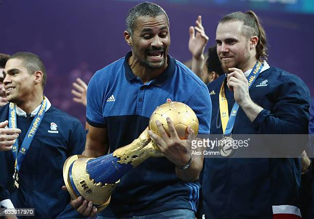 Head coach Didier Dinart of France celebrates with the trophy after victory during the 25th IHF Men's World Championship 2017 Final between France...
