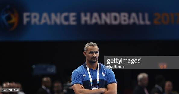 Head coach Didier Dinart of France reacts during the 25th IHF Men's World Championship 2017 Semi Final match between France and Slovenia at...