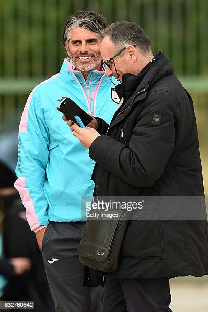 Head coach Diego Lopez and Sport Director Nicola Salerno look on during a US Citta' di Palermo training session at Tenente Carmelo Onorato Sports...