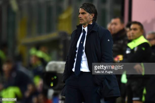 Head coach Diego Lopez of Palermo looks on during the Serie A match between US Citta di Palermo and FC Crotone at Stadio Renzo Barbera on February 5...