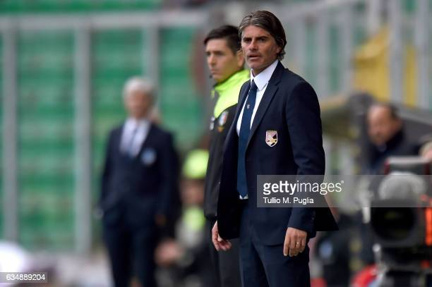 Head coach Diego Lopez of Palermo looks on during the Serie A match between US Citta di Palermo and Atalanta BC at Stadio Renzo Barbera on February...